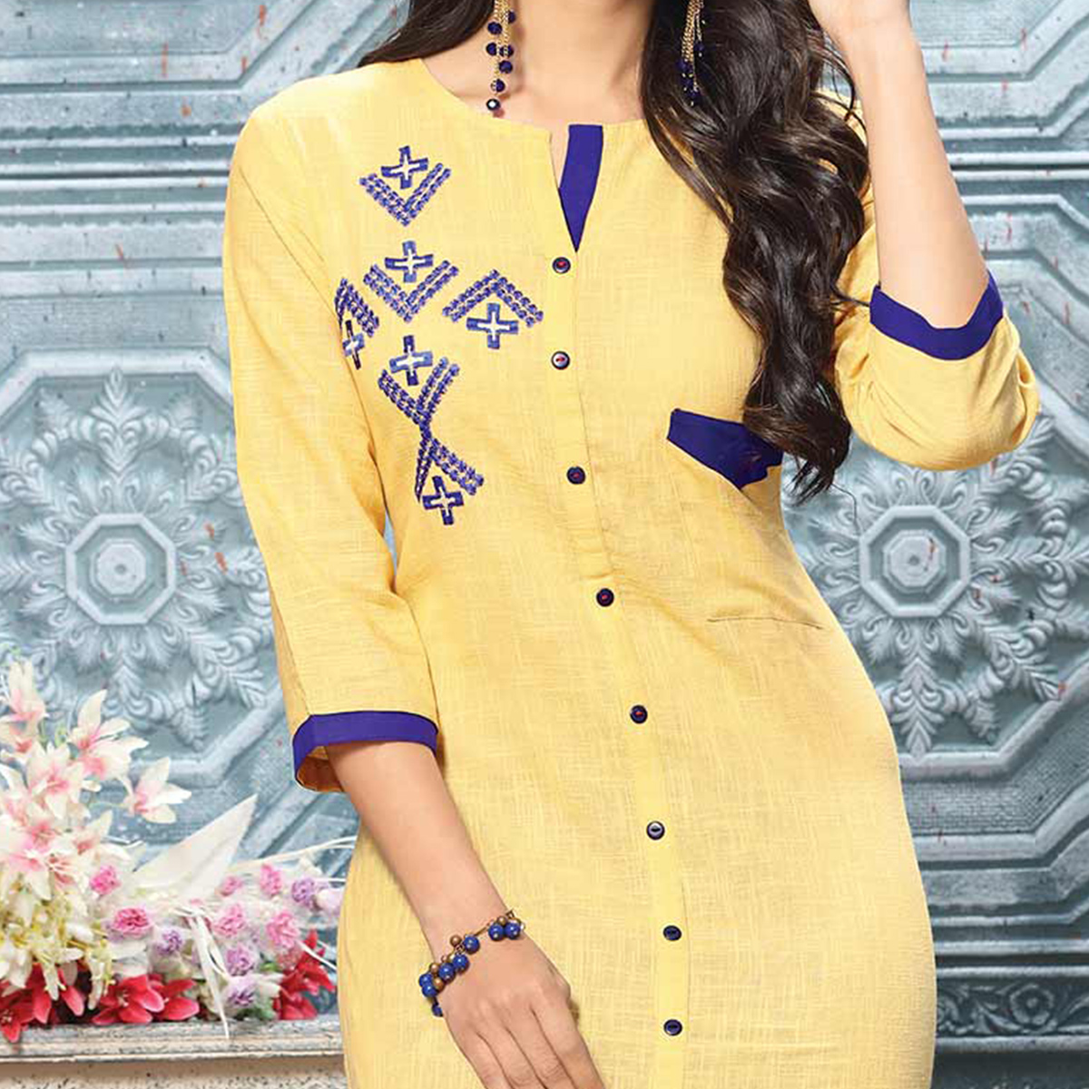 Stunning Cream Colored Designer Partywear Embroidered Cotton Kurti