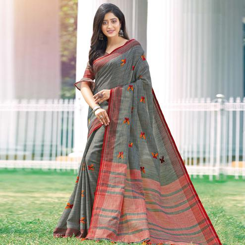 Lovely Grey Colored Casual Wear Printed Linen Cotton Saree