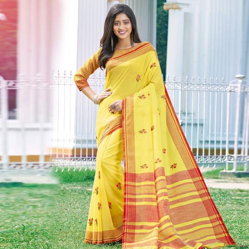 Mesmerising Yellow Colored Casual Wear Printed Linen Cotton Saree