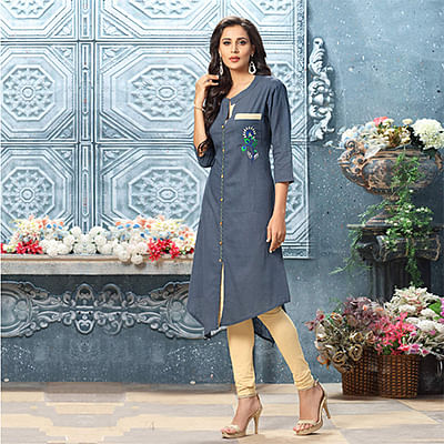 Ravishing Gray Designer Partywear Embroidered Cotton Kurti