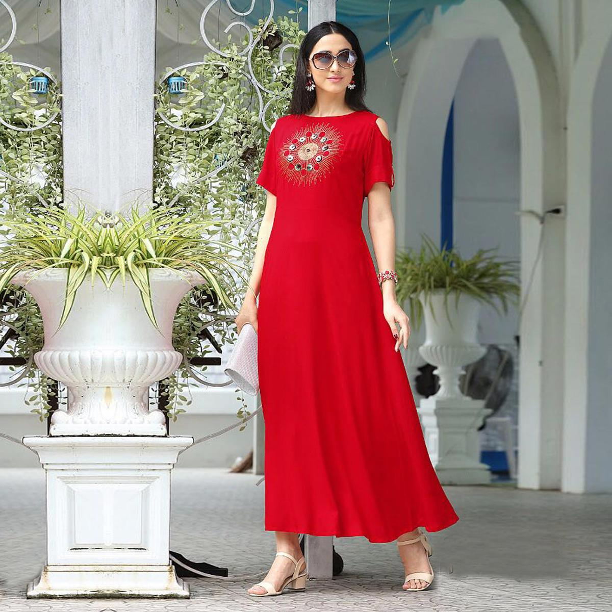 Trendy Red Designer Partywear Embroidered Rayon Slub Gown Style Kurti