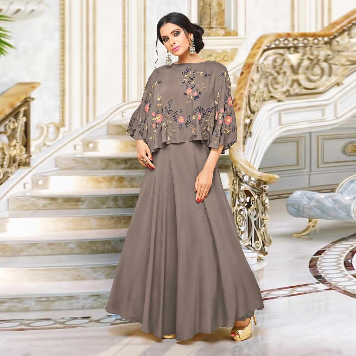 Alluring Brown Designer Partywear Embroidered Pure Maslin Silk And Satin Silk Gown