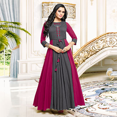 Pretty Gray-Pink Designer Partywear Embroidered Pure Maslin Silk And Satin Silk Gown