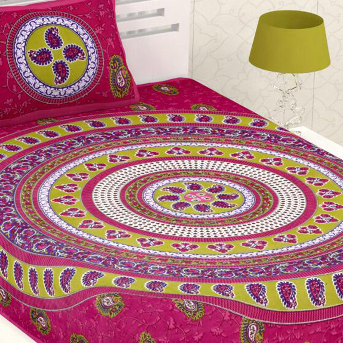 Diva Collection - Pink Colored Printed Cotton Single Bedsheet With Pillow Cover