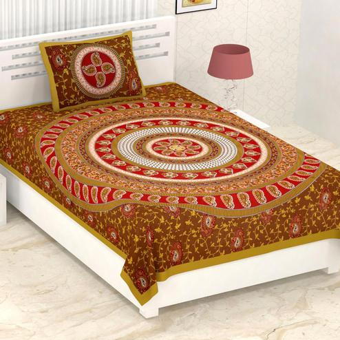Diva Collection - Yellow-Brown Colored Printed Cotton Single Bedsheet With Pillow Cover