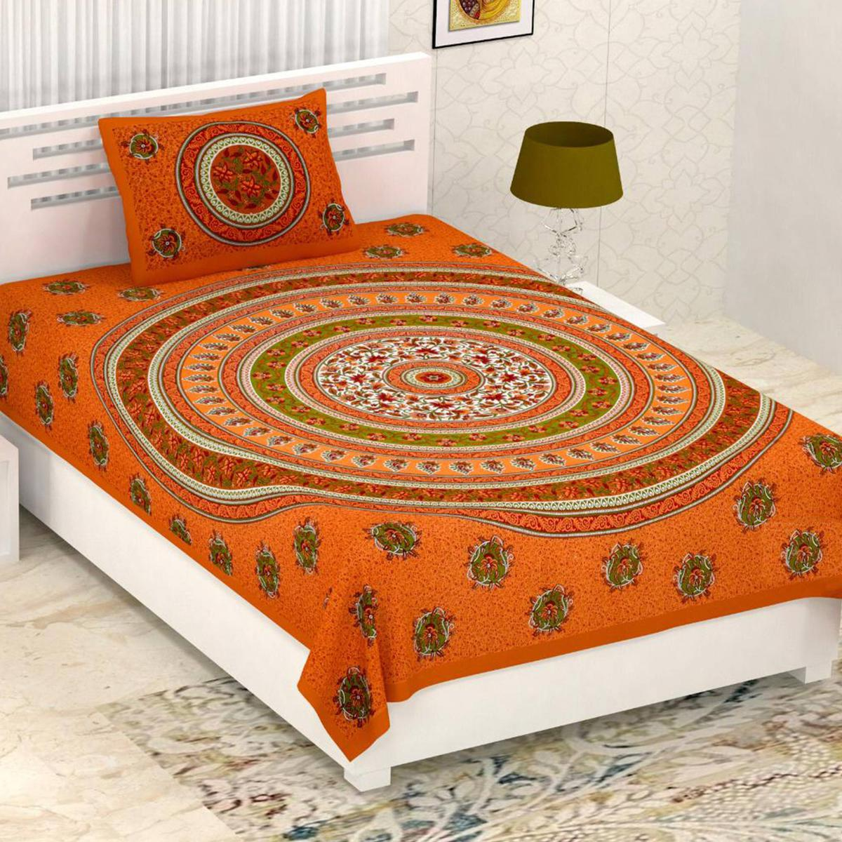Diva Collection - Orange Colored Printed Cotton Single Bedsheet With Pillow Cover