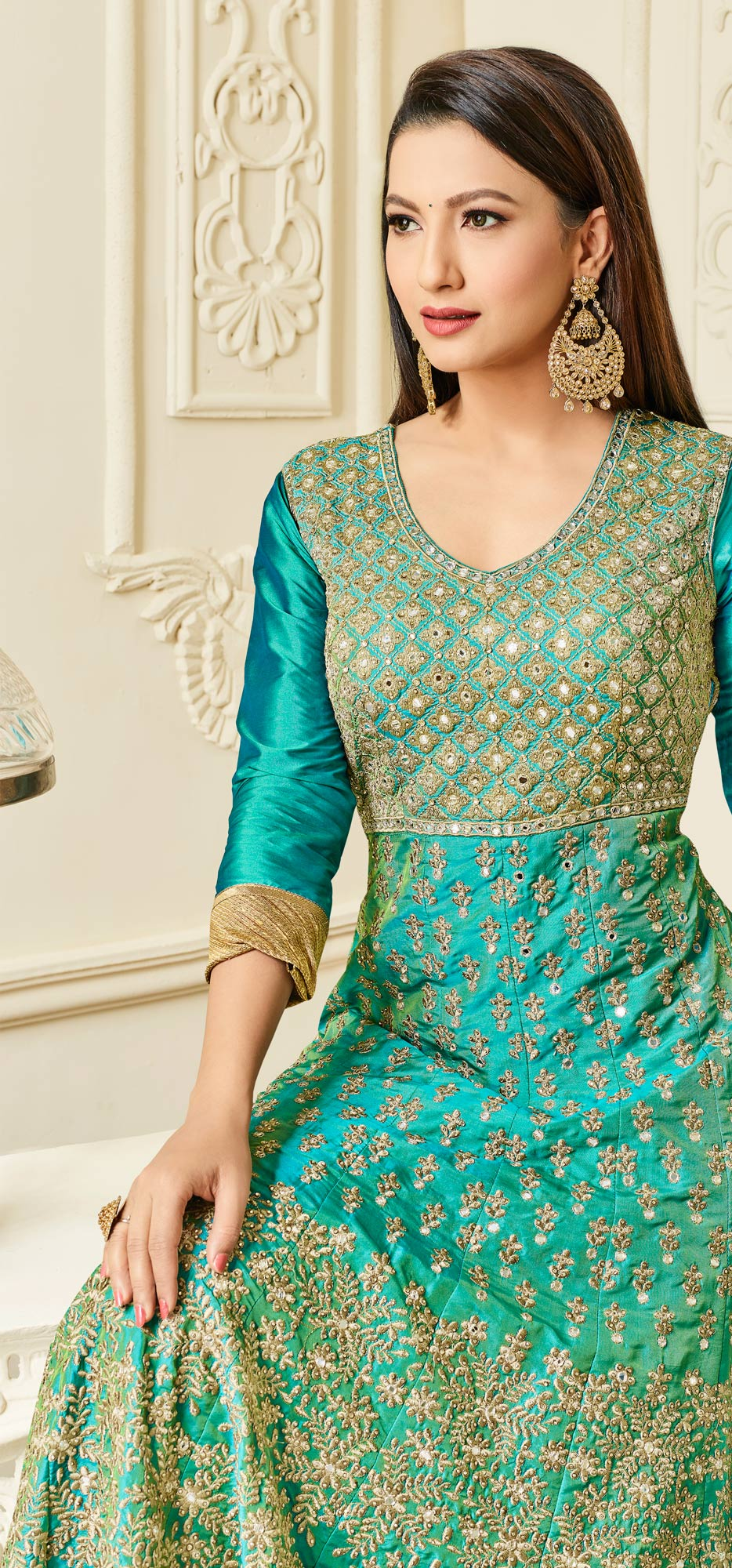 Mesmerising Cyan Colored Designer Embroidered Mulberry Silk Abaya Style Anarkali Suit