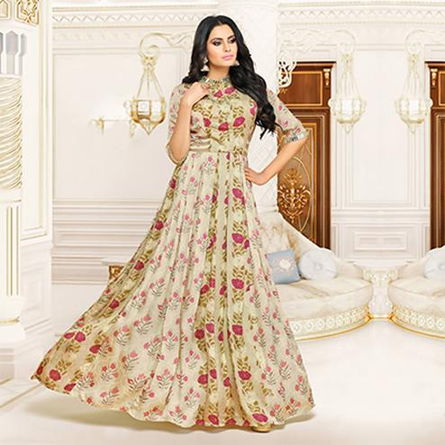 Elegant Beige Partywear Printed Pure Muslin Silk And Satin Silk Gown