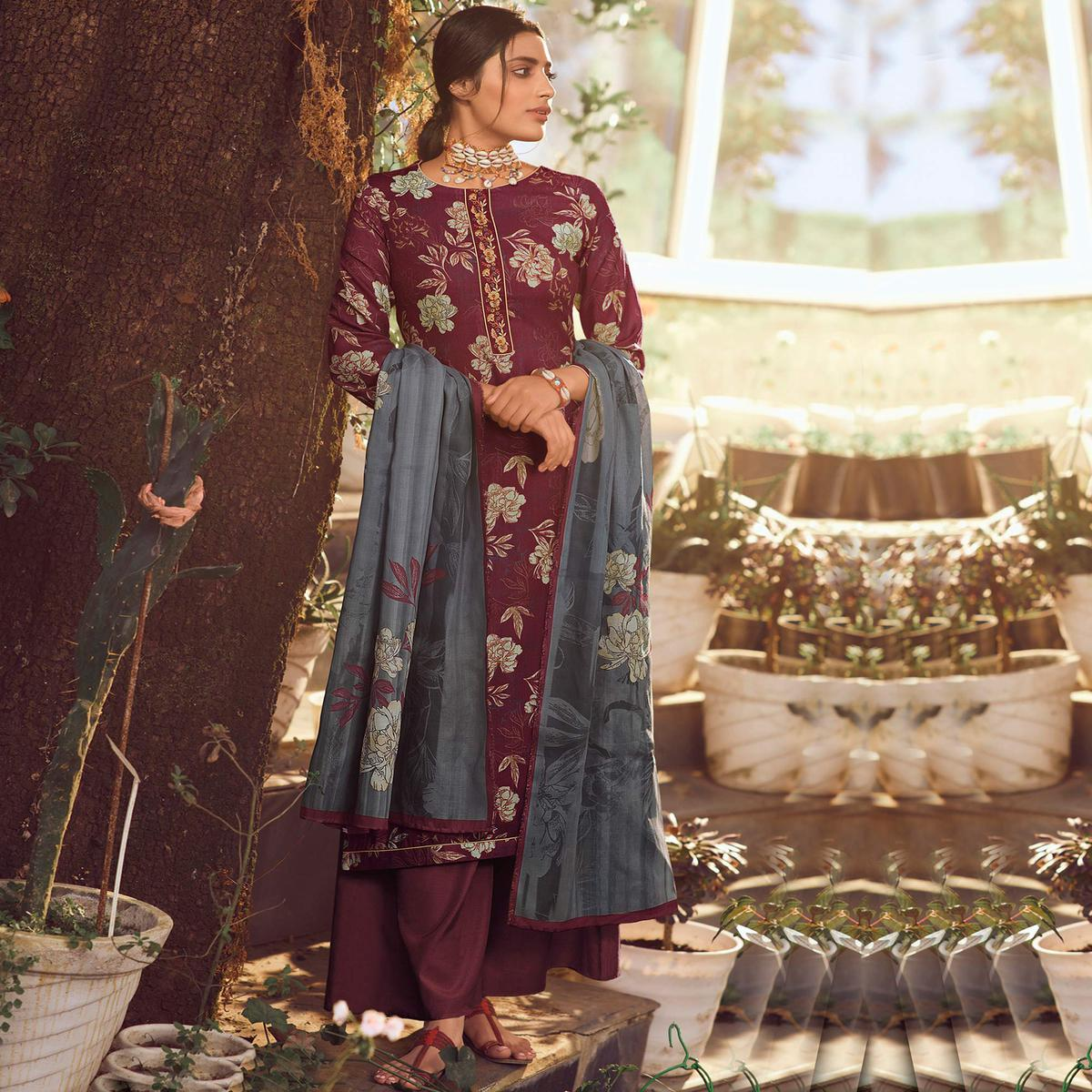 Stylee Lifestyle - Maroon Colored Casual Wear Digital Printed Pashmina Dress Material