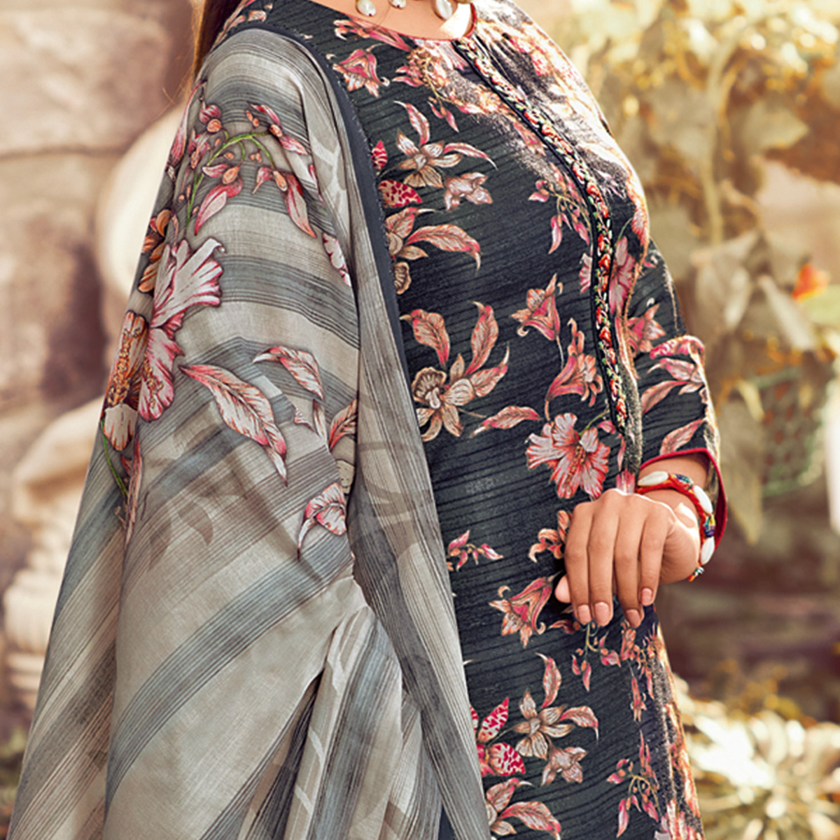 Stylee Lifestyle - Navy Blue Colored Casual Wear Digital Printed Pashmina Dress Material