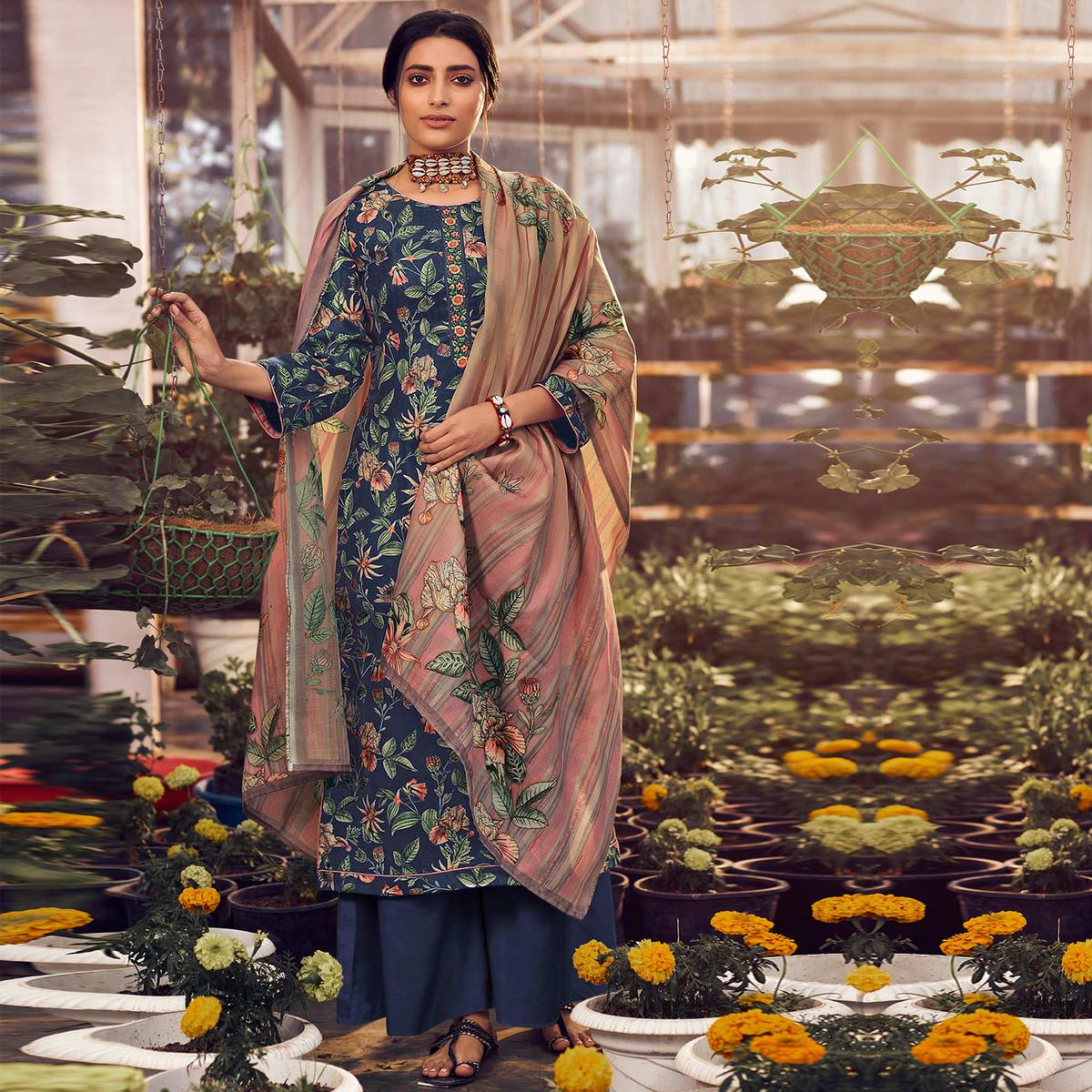 Stylee Lifestyle - Blue Colored Casual Wear Digital Printed Pashmina Dress Material