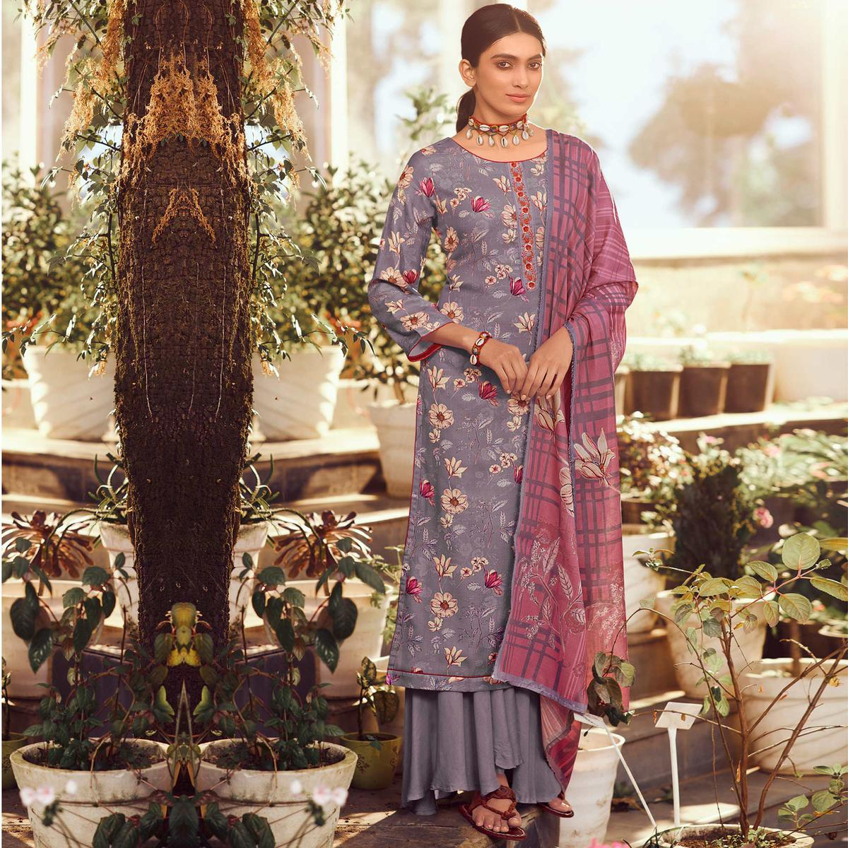 Stylee Lifestyle - Purple Colored Casual Wear Digital Printed Pashmina Dress Material