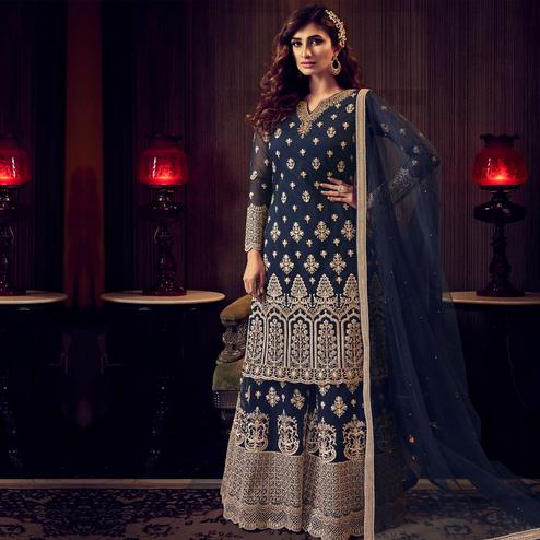 Stylee Lifestyle - Navy Blue Colored Party Wear Embroidered Net Sharara Suit