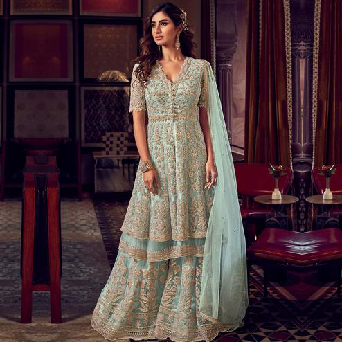 Stylee Lifestyle - Turquoise Colored Party Wear Embroidered Net Sharara Suit