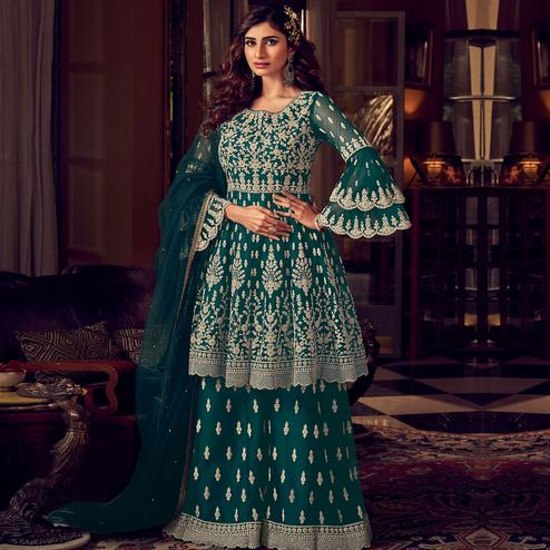 Stylee Lifestyle - Green Colored Party Wear Embroidered Net Sharara Suit