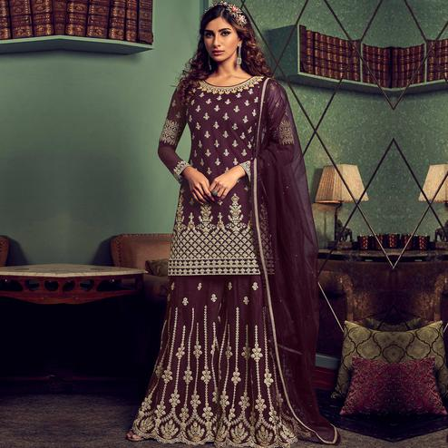 Stylee Lifestyle - Wine Colored Party Wear Embroidered Net Sharara Suit