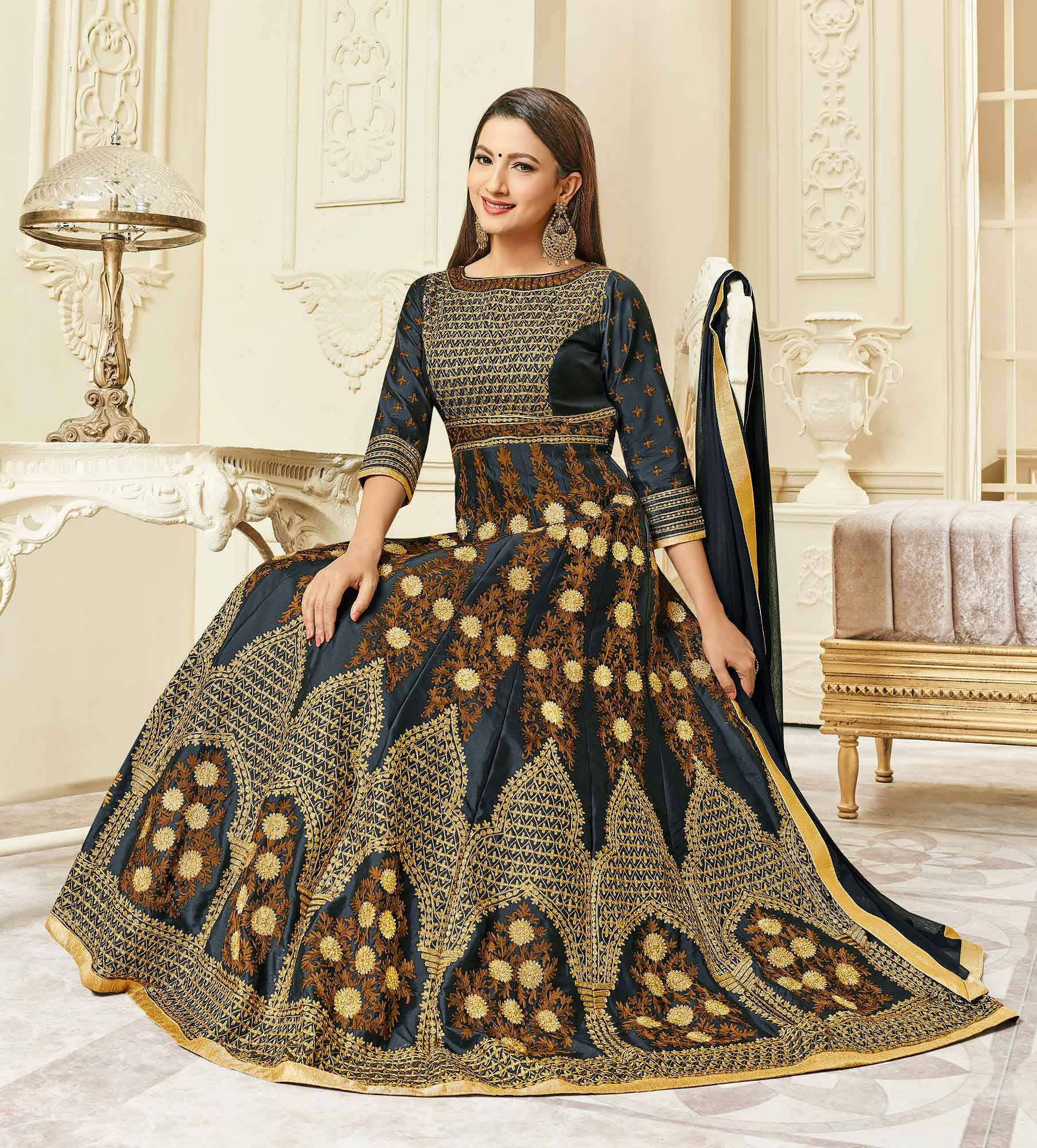 Elegant Black Colored Designer Embroidered Mulberry Silk Abaya Style Anarkali Suit