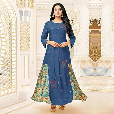 Charming Blue Designer Partywear Embroidered Pure Maslin Silk And Satin Silk Gown