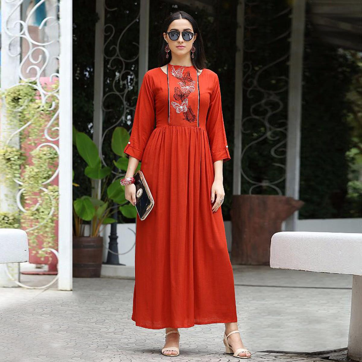 Flamboyant Orange Designer Partywear Embroidered Rayon Slub Gown Style Kurti