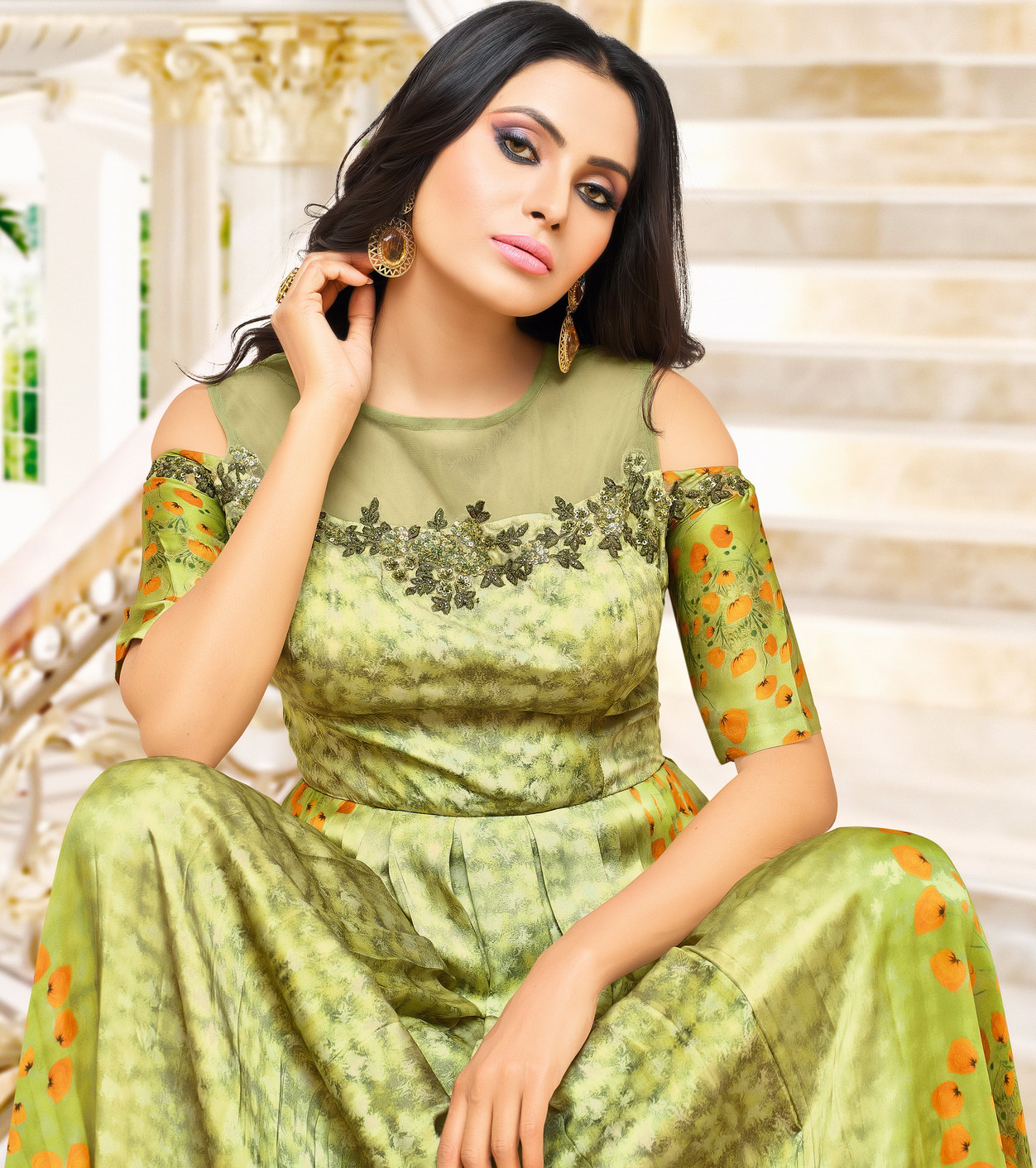 Graceful Green Partywear Printed Pure Muslin Silk And Satin Silk Gown