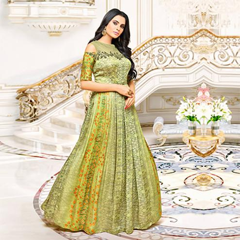 Graceful Green Designer Partywear Embroidered Pure Maslin Silk And Satin Silk Gown