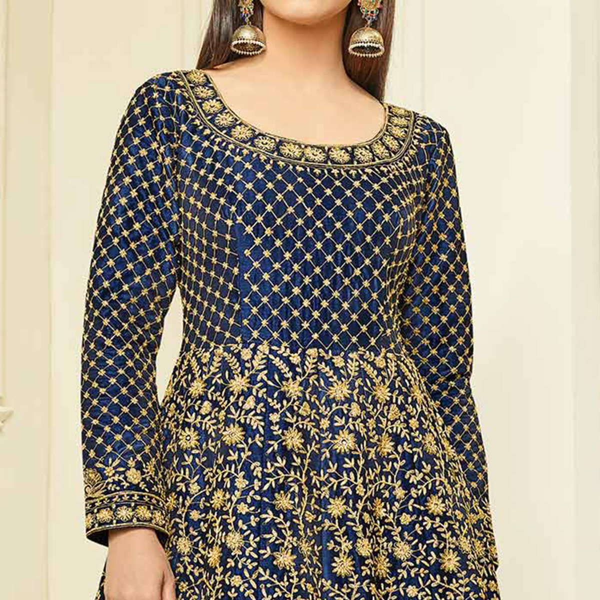 Gorgeous Navy Blue Colored Designer Embroidered Mulberry Silk Abaya Style Anarkali Suit