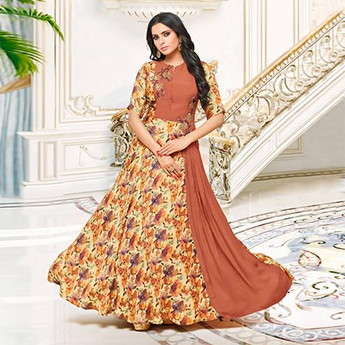Beautiful Brown-Beige Partywear Printed Pure Muslin Silk And Satin Silk Gown