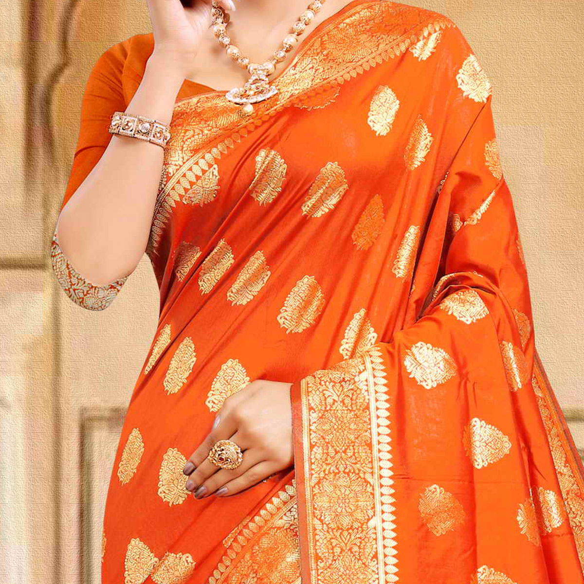 Pache Women's  Orange Colored Festive Wear Woven Silk Saree With Unstitched Blouse Piece