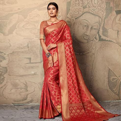 Fantastic Dark Peach Colored Festive Wear Woven Banarasi Silk Saree