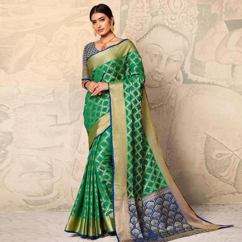 Amazing Green Colored Festive Wear Woven Banarasi Silk Saree