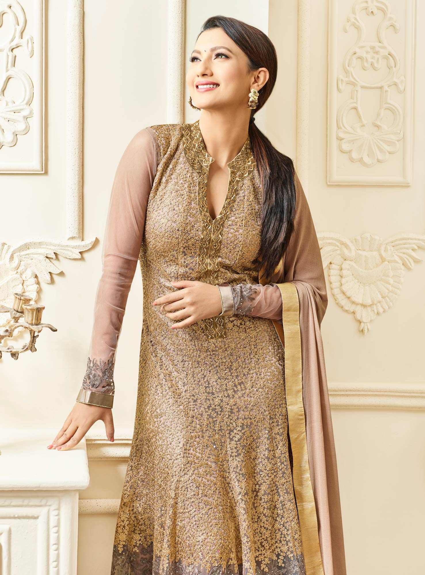 Sizzling Beige Colored Designer Embroidered Mulberry Silk Abaya Style Anarkali Suit
