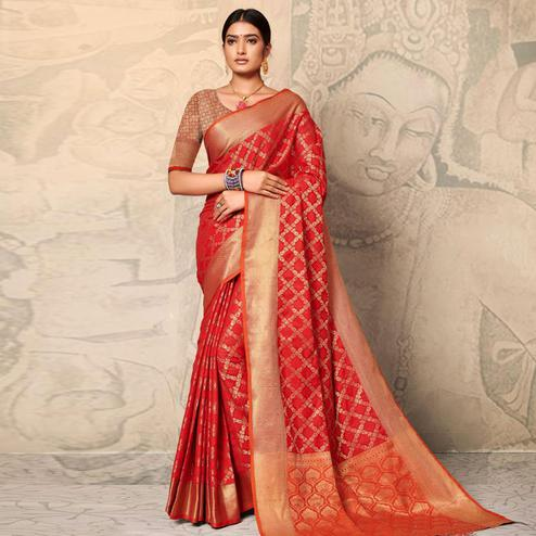 Gorgeous Red Colored Festive Wear Woven Banarasi Silk Saree