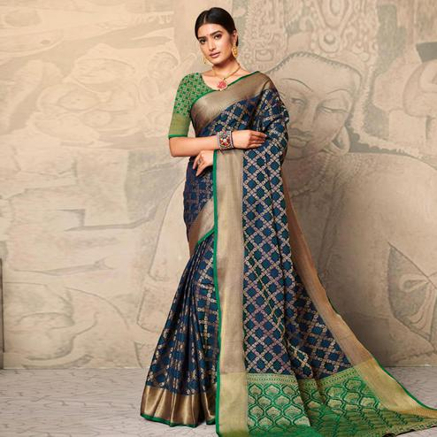 Blissful Teal Blue Colored Festive Wear Woven Banarasi Silk Saree