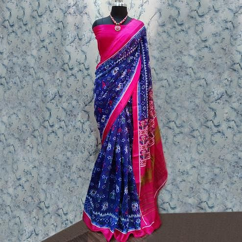 Ethnic Blue Colored Casual Wear Printed Cotton Saree