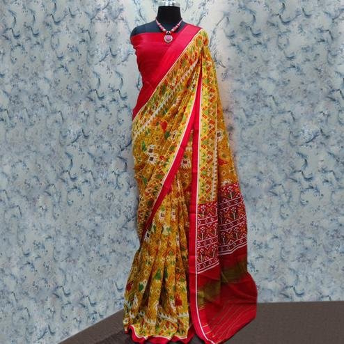 Staring Mustard Yellow Colored Casual Wear Printed Cotton Saree
