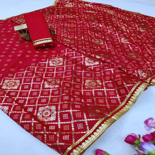 Sophisticated Red Colored Festive Wear Foil Printed Dola Silk Saree