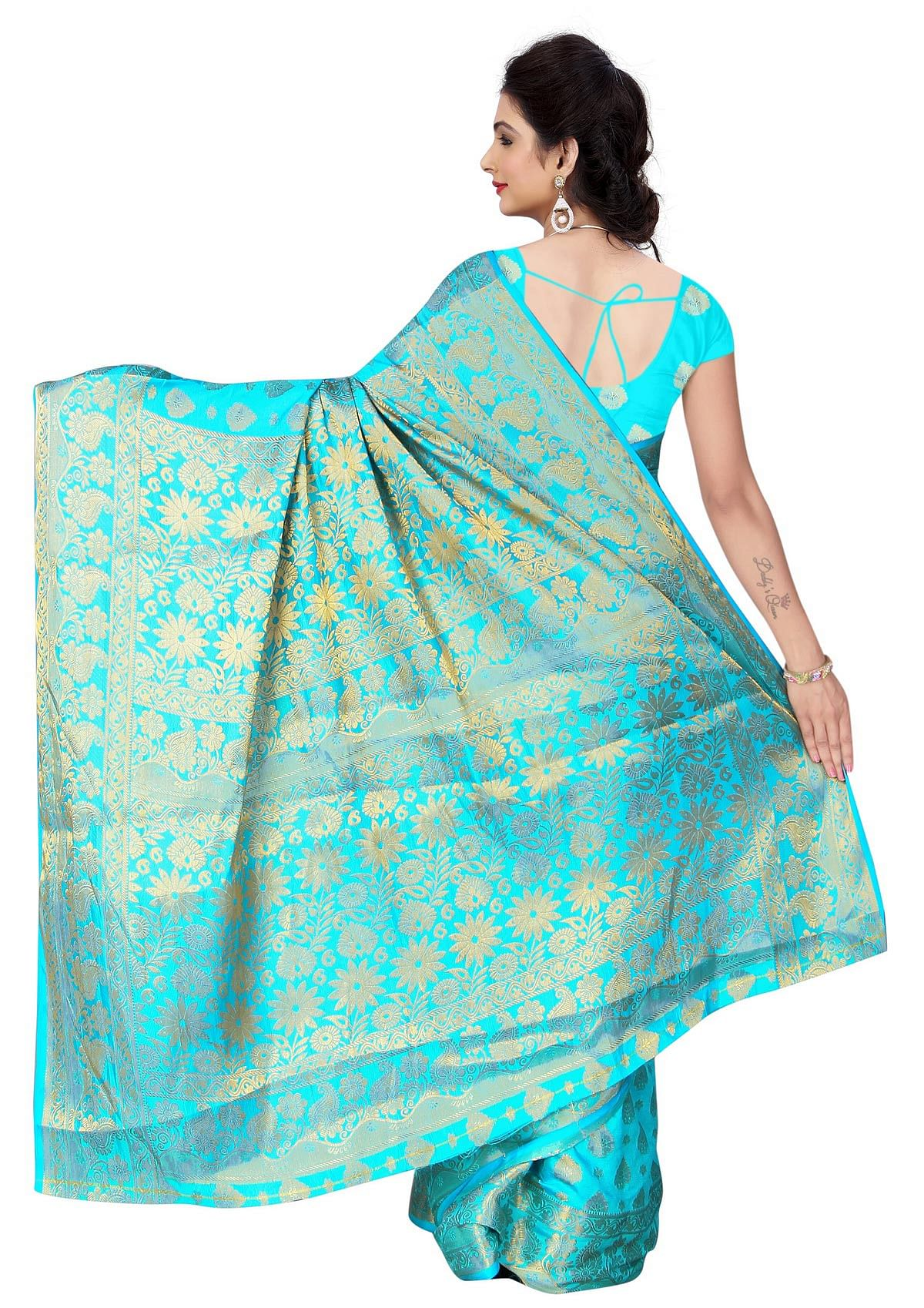 Sky Blue Weaving Work Banarasi Silk Saree
