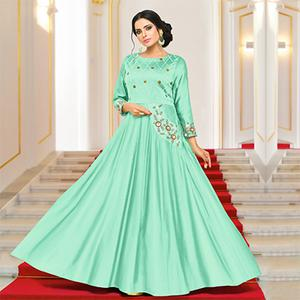 Gorgeous Green Designer Partywear Embroidered Pure Maslin Silk And Satin Silk Gown