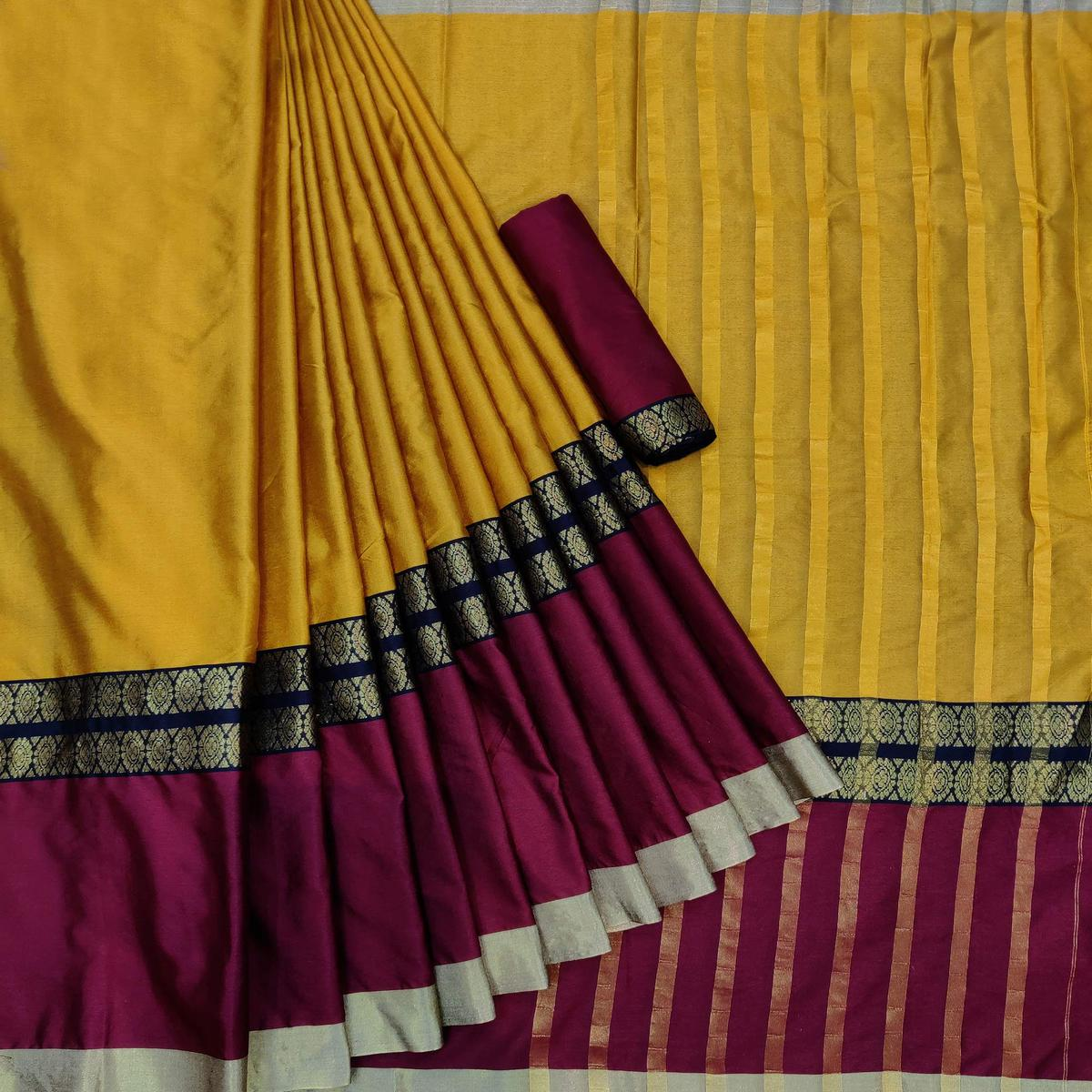 Energetic Yellow Colored Festive Wear Woven Pure Cotton Saree