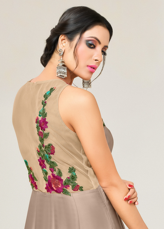 Mesmerising Brown Designer Partywear Embroidered Pure Maslin Silk And Satin Silk Gown