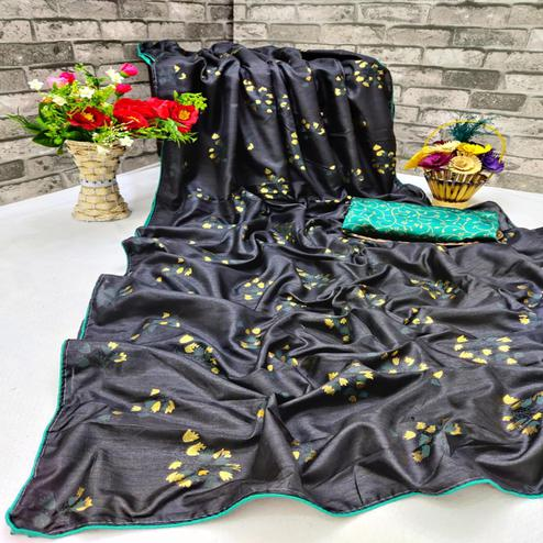 Magnetic Black Colored Partywear Foil Printed Dola Silk Saree