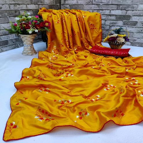 Flattering Yellow Colored Partywear Foil Printed Dola Silk Saree