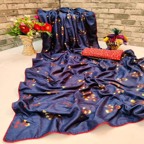 Marvellous Navy Blue Colored Partywear Foil Printed Dola Silk Saree