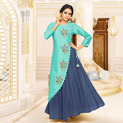 Dazzing Blue Designer Partywear Embroidered Pure Maslin Silk And Satin Silk Gown