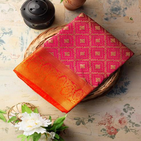 Appealing Pink Colored Festive Wear Woven Art Silk Saree