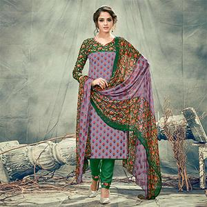 Purple-Green Casual Printed Cotton Salwar Suit