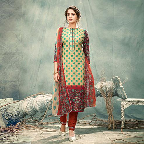 Beige-Maroon Casual Printed Cotton Salwar Suit