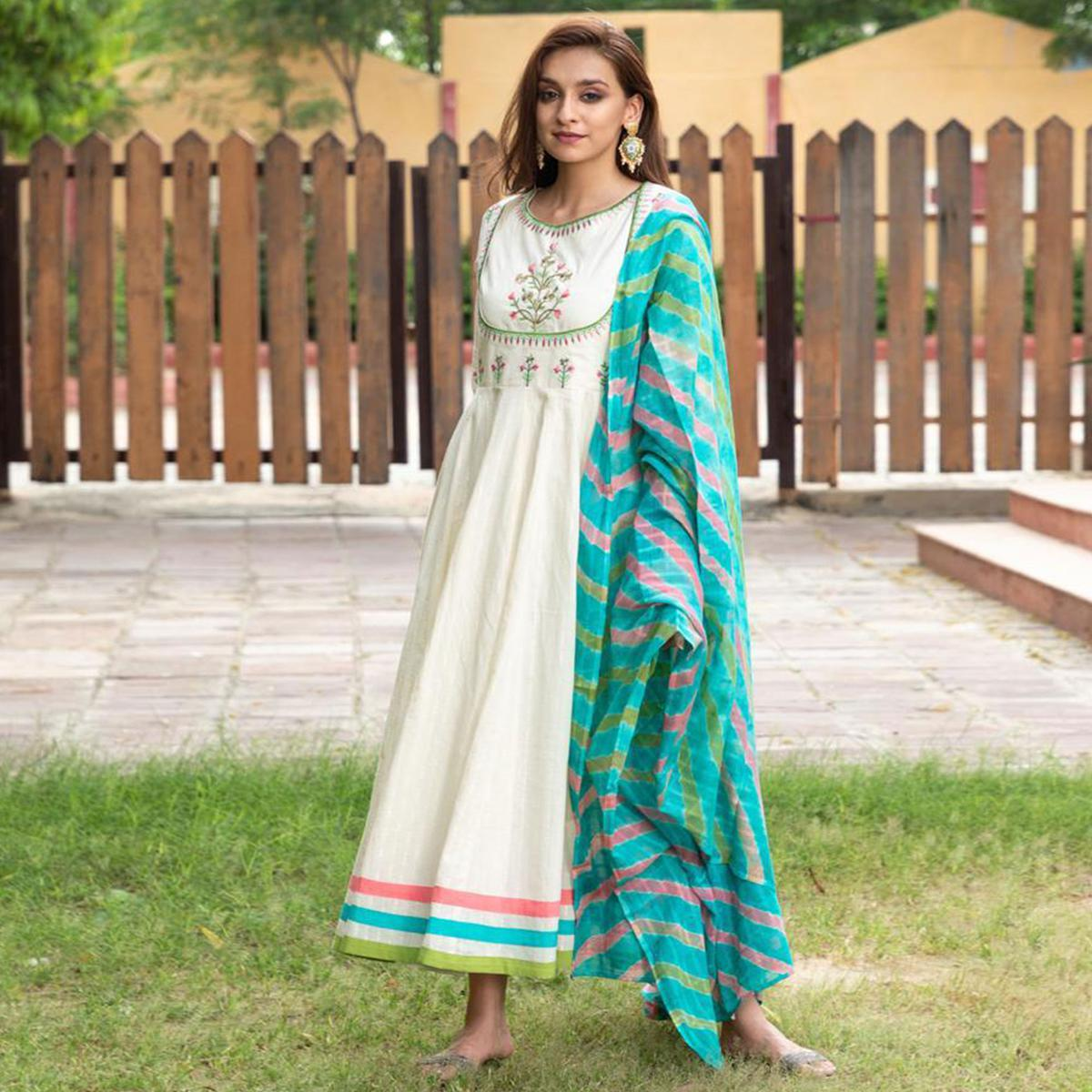 Aariya Designs - Cream Colored Party Wear Embroidered Cotton Long Kurti With Dupatta