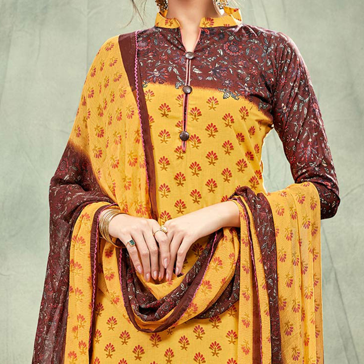 Yellow-Brown Casual Printed Cotton Salwar Suit