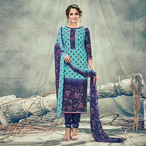 Blue Casual Printed Cotton Salwar Suit